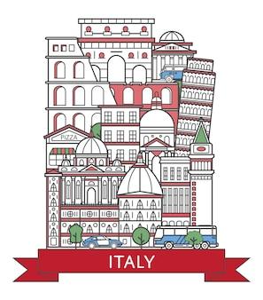 Affiche de voyage en italie dans un style linéaire