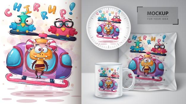 Affiche de voyage monster et merchandising