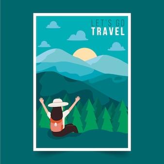 Affiche de voyage avec des montagnes illustrées