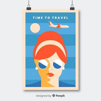 Affiche de voyage promotionnelle plate vintage