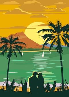 Affiche de voyage style rétro vintage ou autocollant