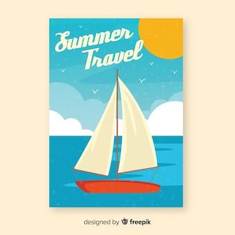 Affiche de voyage vintage de bateau plat