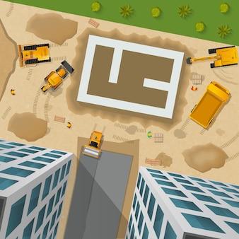 Affiche vue de dessus de construction