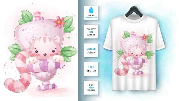 Affiche wc wc chat et merchandising.