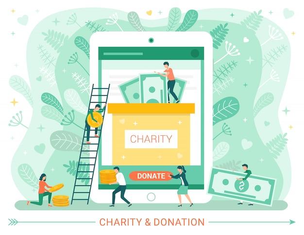 Affiche web de dons de charité, les gens donnent de l'argent