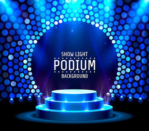 Afficher l'arrière-plan des étoiles du podium léger. illustration vectorielle