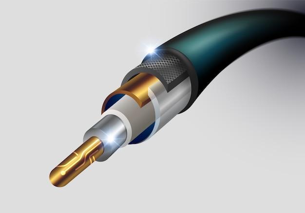 Afficher les détails de la couche de matériau et les composants dans un câble à fibres optiques.