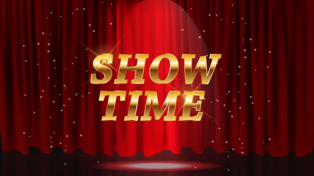 Afficher le fond de l'heure avec des rideaux rouges. illustration