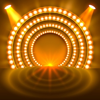 Afficher le fond d'or du podium léger. illustration vectorielle