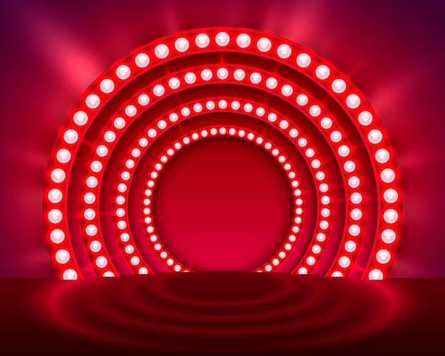 Afficher le fond rouge du podium léger. illustration vectorielle
