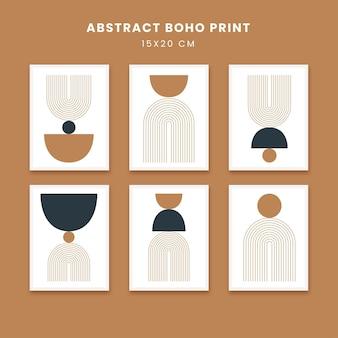 Affiches abstraites art formes dessinées à la main couvre sertie de soleil boho et arc-en-ciel