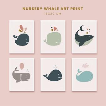 Affiches abstraites dart de pépinière mignonnes couvertures de formes dessinées à la main dart avec une baleine animale