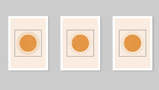 Affiches abstraites du soleil. milieux contemporains, ensemble de couvertures de style boho moderne.