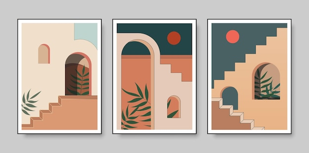 Affiches abstraites avec des éléments de l'architecture marocaine