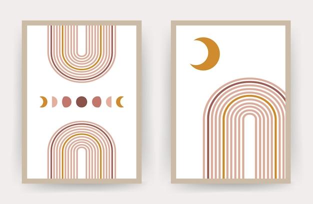 Affiches avec arc-en-ciel abstrait et lune
