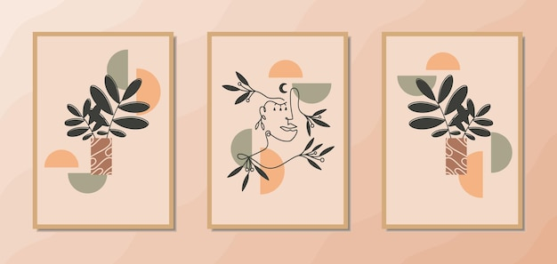 Affiches d'art mural boho esthétique avec une décoration florale de portrait d'art en ligne de femme et une forme géométrique