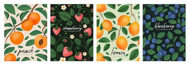 Affiches avec des branches de fraise pêche citron et myrtille