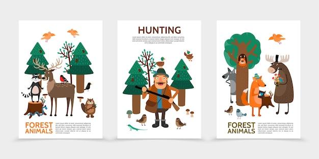 Affiches de chasse à plat