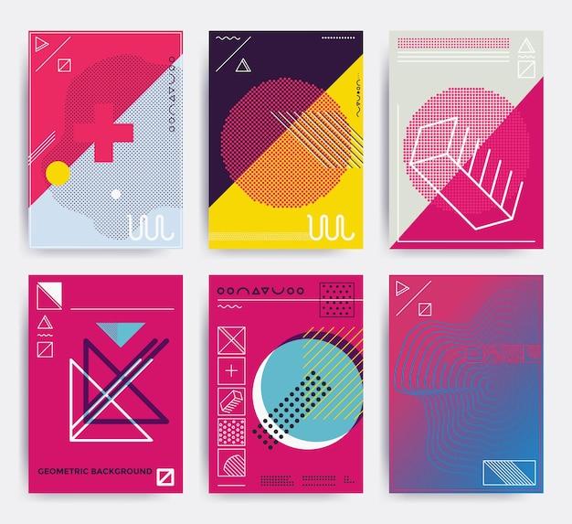 Les affiches de conception définissent des illustrations vectorielles lumineuses avec des formes d'éléments géométriques memphis