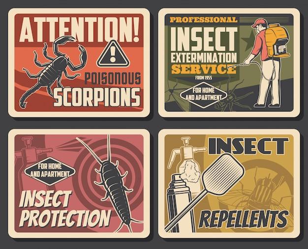 Affiches sur le contrôle des parasites du service d'extermination des insectes