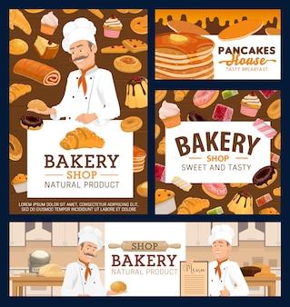 Affiches de dessin animé de boulangerie et crêpes maison