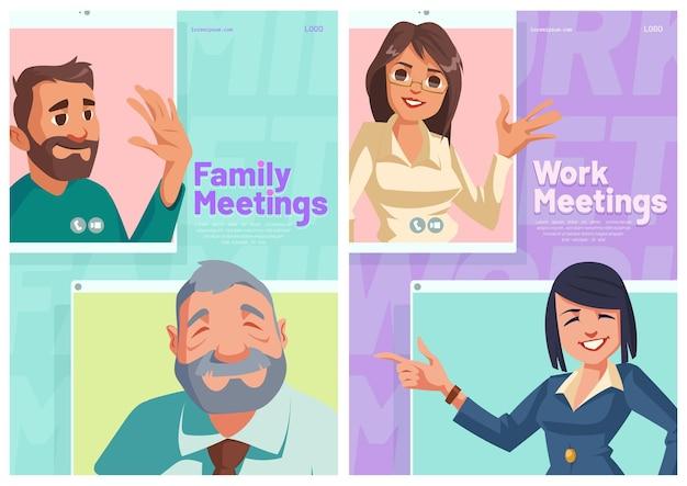 Affiches De Dessin Animé De Réunion En Ligne De Famille Ou De Travail Vecteur gratuit