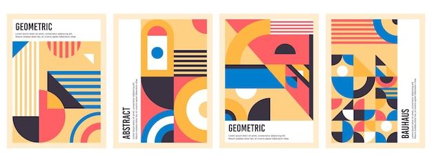 Affiches du bauhaus. motifs géométriques abstraits, cercles, triangles et ensemble de bannière carré bauhaus