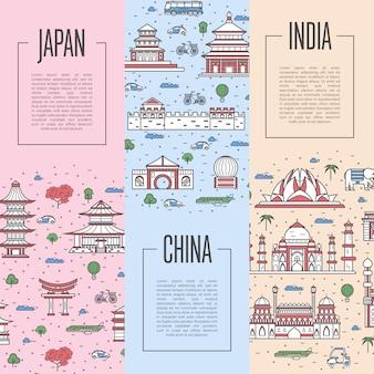 Affiches du tour du monde en style linéaire