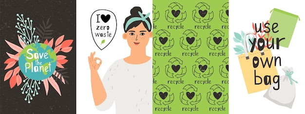 Affiches écologiques. zéro déchet, fille positive et objets réutilisables. plaques d'agitation pour aller à l'ensemble de vecteurs verts