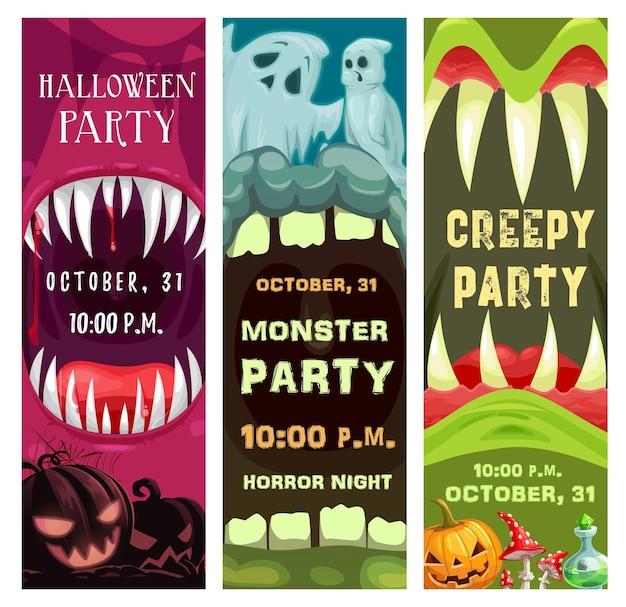 Des affiches de fête costumées d'halloween avec des monstres ont ouvert des gueules dentées. citrouille citrouille o lanterne, fantômes effrayants et vecteur de dessin animé de potion magique. bannière ou flyer de promotion de fête d'halloween