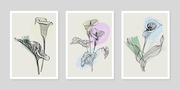 Affiches florales d'art contemporain aux couleurs tendance.