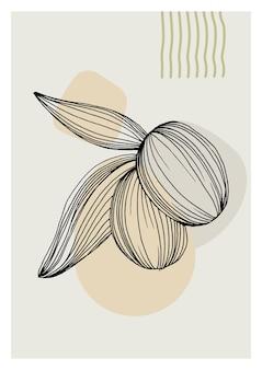 Affiches florales d'art d'olives dans des couleurs à la mode. fleurs de dessin à la main abstraite et éléments géométriques et traits, feuilles et fleurs.