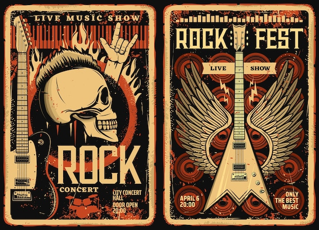 Affiches et flyers de festival de rock, festival de musique de concert, crâne vintage de vecteur grunge et guitare électrique avec des ailes