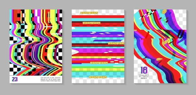 Affiches futuristes glitch, ensemble de couvertures. compositions de conception de hipster pour brochures, dépliants, pancartes. modèle à la mode. illustration vectorielle