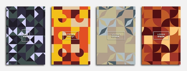 Affiches géométriques abstraites modernes sertie de formes géométriques multicolores modèle de conception à la mode