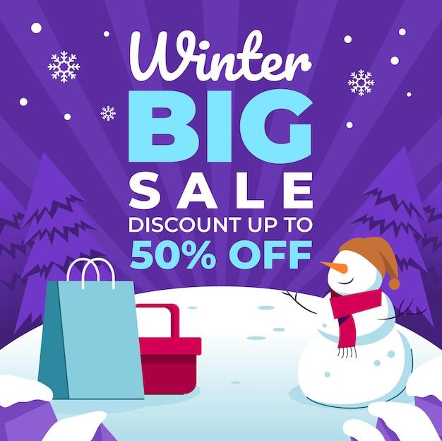 Affiches de grande vente pour les événements d'hiver