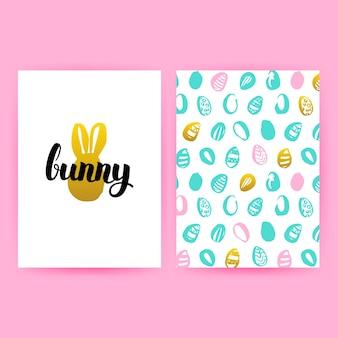 Affiches de hipster de lapin de pâques. illustration vectorielle de trendy pattern design avec lettrage manuscrit.