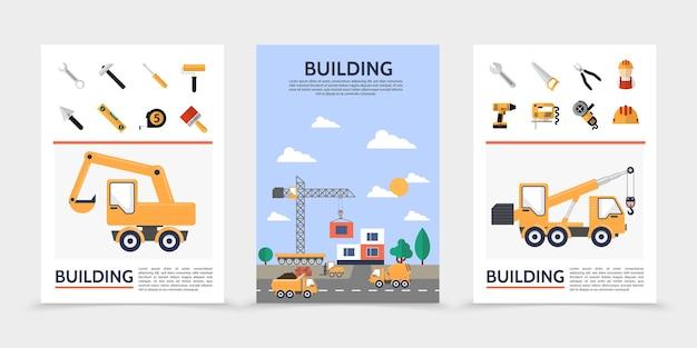 Affiches de l'industrie du bâtiment plat
