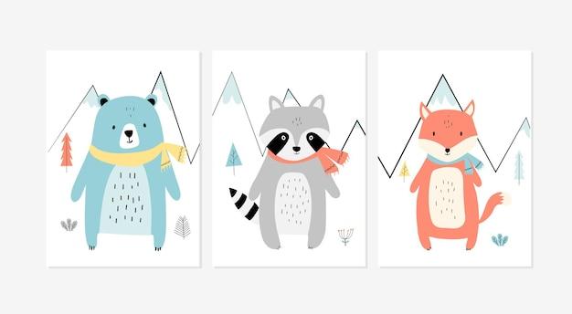 Affiches mignonnes avec de petits lapins de ballet impressions vectorielles pour enfant de carte de voeux de douche de bébé de chambre de bébé