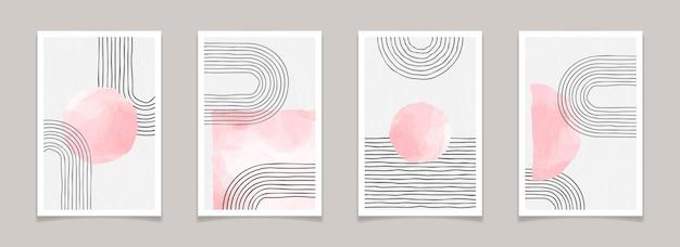 Affiches minimales abstraites modernes du milieu du siècle avec des lignes et des éléments à l'aquarelle