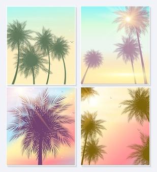 Affiches de palmes naturelles de l'heure d'été