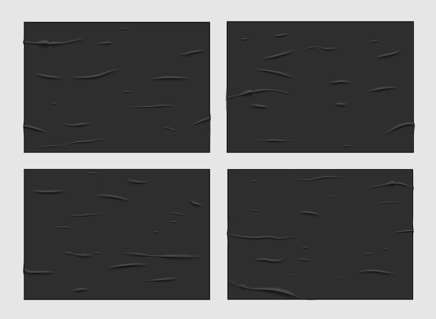 Affiches en papier humide collé noir, texture froissée et froissée