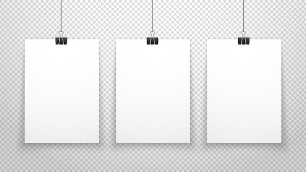 Affiches en papier suspendues