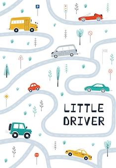 Affiches pour enfants avec voitures, carte routière et lettrage petit conducteur en style cartoon.