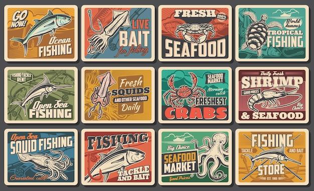Affiches rétro vectorielles de fruits de mer, prises de pêche, restaurant gastronomique de poisson, industrie de la pêche océanique et maritime. nourriture de charcuterie de chef, calmar d'animaux sous-marins, poulpe et crabe, attirail louer des cartes vintage