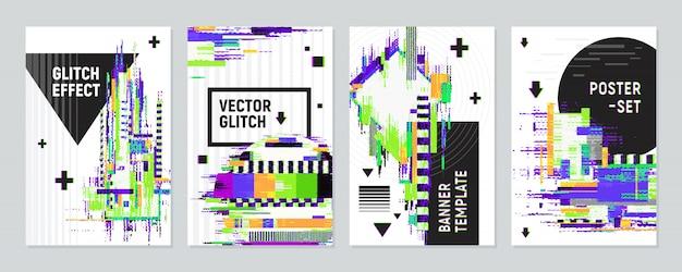 Affiches set avec effet glitch