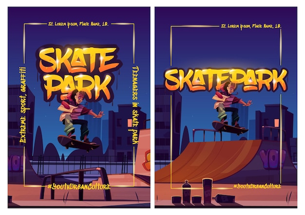 Affiches de skate park avec un garçon à cheval sur une planche à roulettes