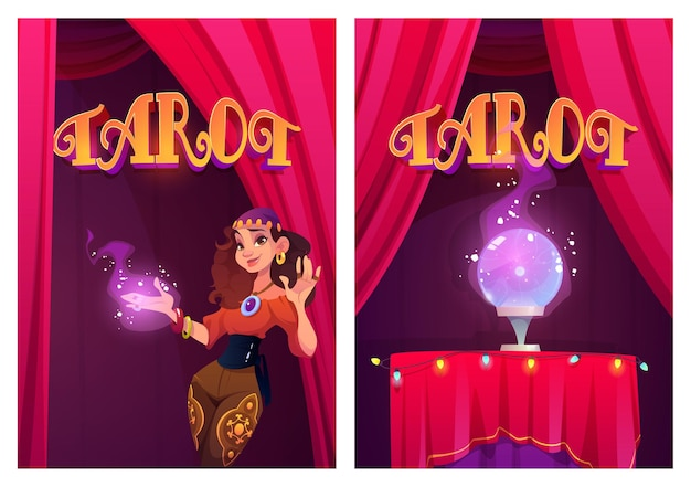 Affiches de tarot avec diseuse de bonne aventure gitane et boule magique