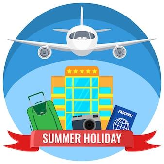 Affiches de vacances d'été avec accessoires de voyage, avion volant dans le ciel, hôtel et document de passeport, voyage en avion illustration vectorielle concept