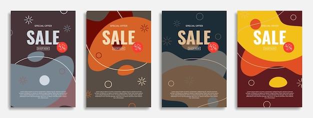 Affiches de vente abstraites modernes avec des formes géométriques colorées design tendance avec des objets liquides